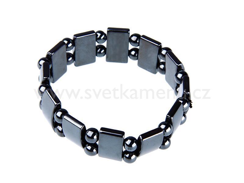 ... Jewelry | Hematite bracelet flat with beads | World Stones Wholesale
